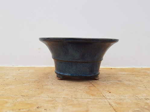 "P669 Blue Glazed Round Pot 4"""