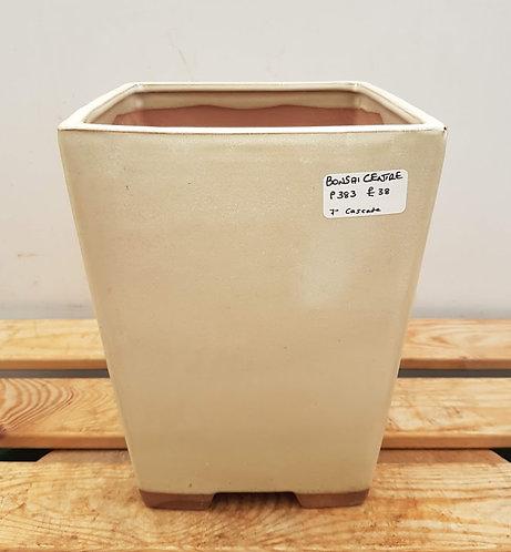 """P383 Cream Glazed Cascade Pot 7"""""""