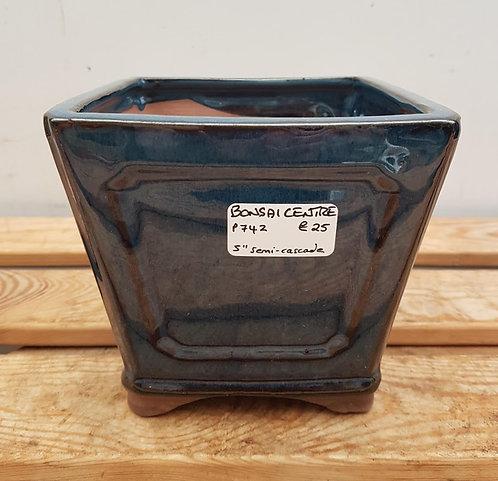 "P742 Blue Glazed Semi-Cascade Pot 5"""