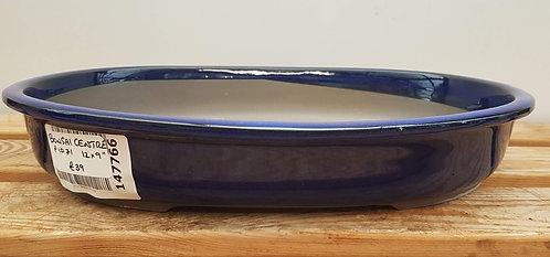 """P1071 Blue Glazed Oval Pot 12"""""""
