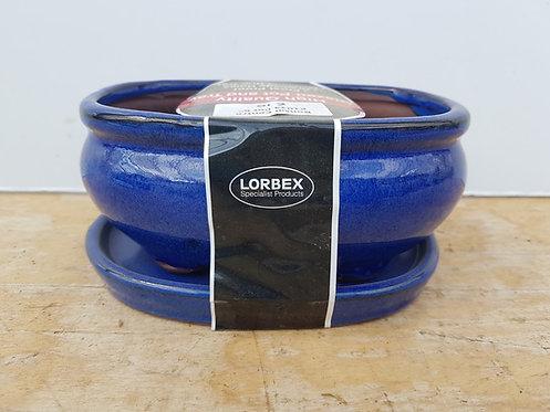 """P1034 Blue Glazed Oval Pot 6"""""""