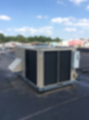 A new Lennox packaged unit installed on top of a restaurant in Stillwater by Troy.