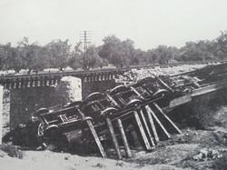 train wrecked in Palestine