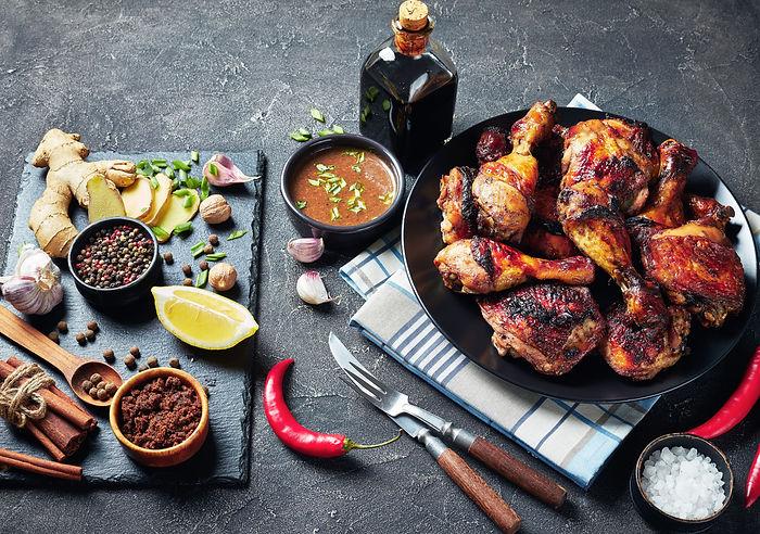 Spicy Grilled Jamaican Jerk Chicken drum