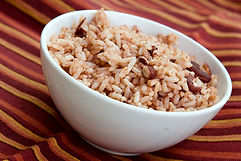A bowl of caribbean style rice and red b