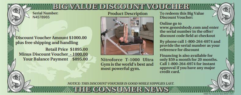 Nitroforce T-1000 Big Value Discount Voucher - 1000 Savings