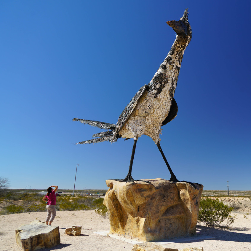 A big bird made of recycled material Las
