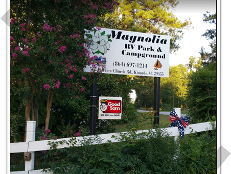 Spartanburg, Greenville and Clinton, SC (Magnolia RV Campground)