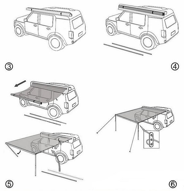 How to install car side awning-2