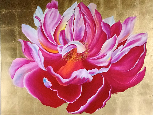 Pink peony with gold leaf