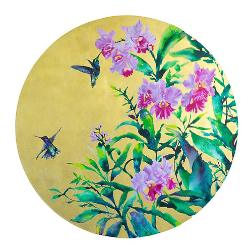 Hummingbirds and Orchids Tondo