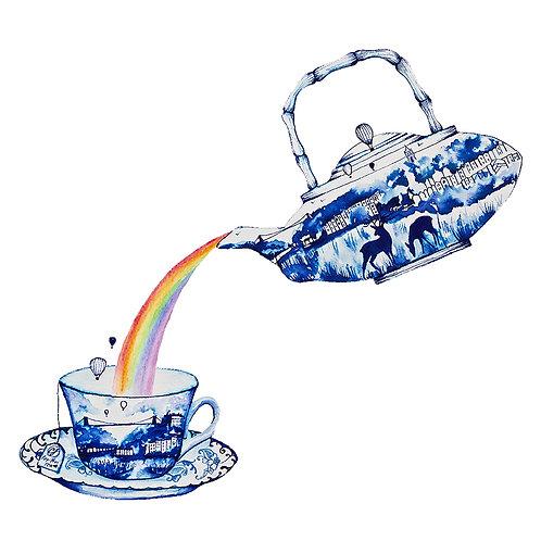 Positivity tea pot and cup