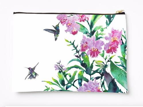 Hummingbirds design canvas pouch