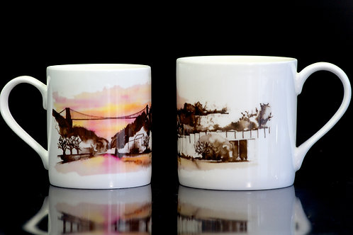Sunset Bristol Mug. Watercolour Sunset Design- Small