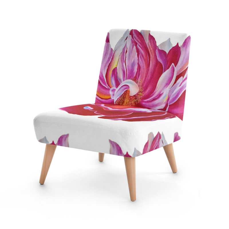 Ocasional Chair with Pink Peony Printed Artwork