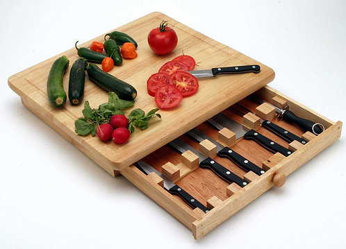 CUTTING BOARD AND DRAWER WITH KNIFE SET
