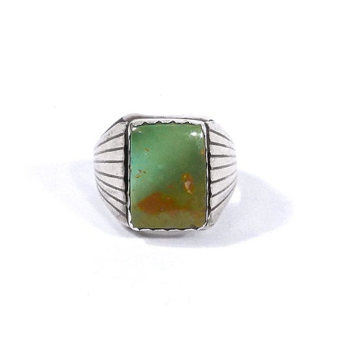 Men's Vintage Navajo Ring with Green Turquoise Stone