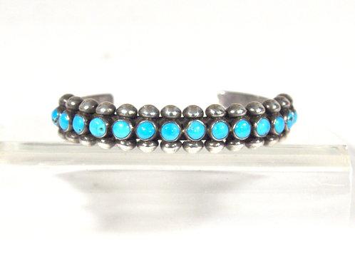 Vintage Zuni Turquoise & Sterling Cuff Bracelet