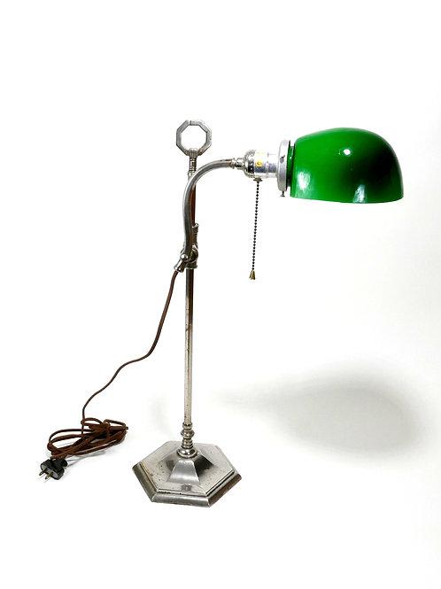 French Nickel Chrome Desk Lamp. C. 1930