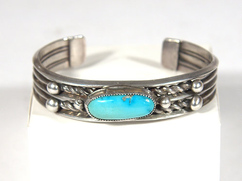 Vintage Navajo Silver Bracelet with Oval Turquoise Stone
