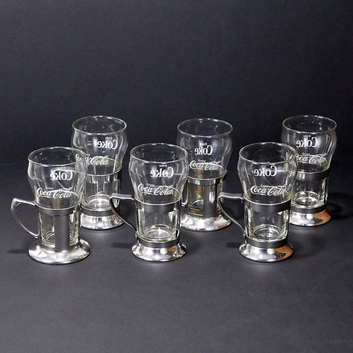 Set of 6 Soda Fountain Ice Cream Parlor Coca-Cola Glasses