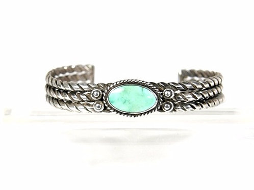 Triple Twisted Wire Silver & Turquoise Bracelet circa 1940
