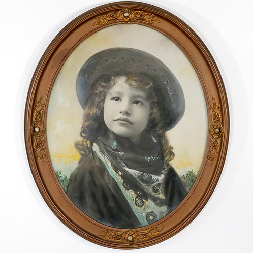 Large Hand Tinted Photograph of Young Cowgirl