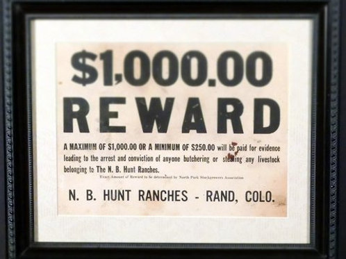 Vintage Colorado Reward Poster