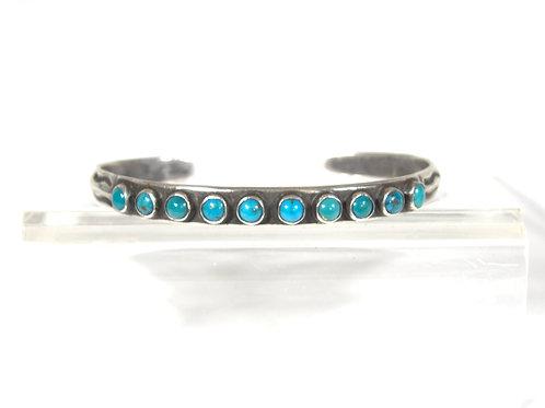 Navajo Silver & Turquoise 10 Stone Cuff