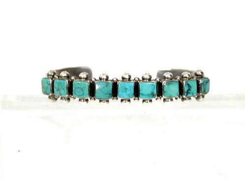 Leonard Fran Square Turquoise Navajo Bracelet Cuff