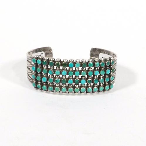 Vintage Zuni 4 Row Cluster Silver & Turquoise Bracelet