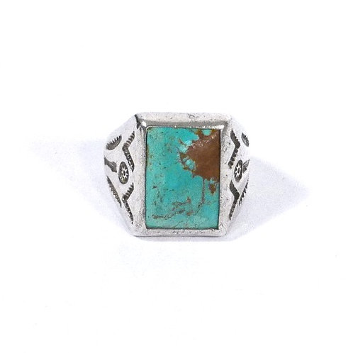 Men's Vintage Navajo Silver Men's Ring with Light Turquoise