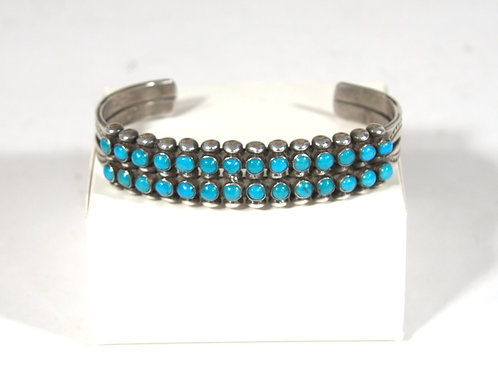 Zuni Silver and Turquoise Double Row Bracelet, Circa 1940's