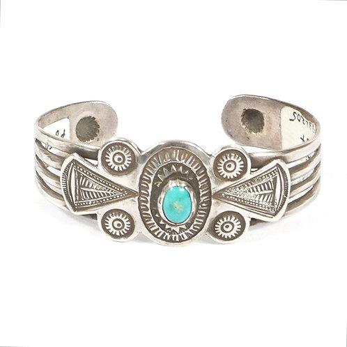 Fred Harvey Era Vintage Navajo Ingot Chisel Cut Silver Bracelet