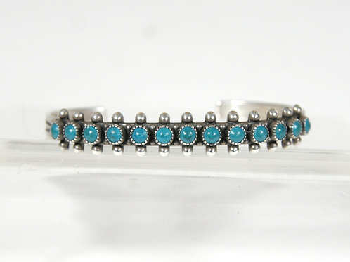 Sterling Silver Zuni Single Row Turquoise Bracelet