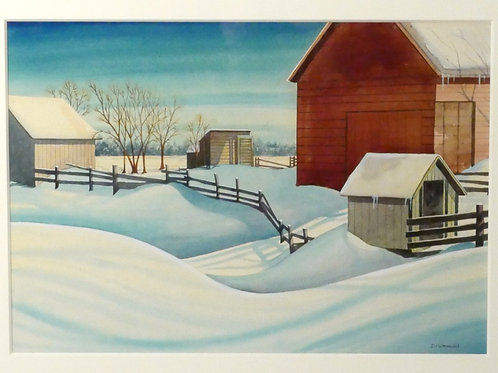 Winter Scene, Watercolor by Drummond
