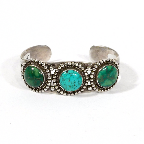 Vintage Navajo Silver Cuff with 3 Large Turquoise Stones
