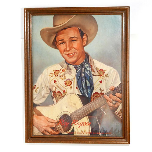 Very Early Framed Roy Rogers Poster for RCA records