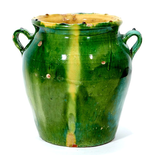 Eared French Provincial Large Green Glazed Jar
