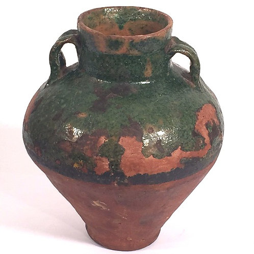 Green French Provincial Small Pottery Jar