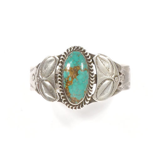 Circa 1940 Navajo Large Silver Cuff with Oval Turquoise Stone