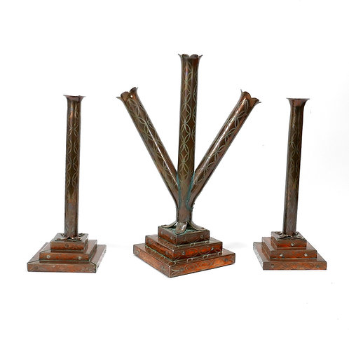 Set of 3  Mexican Engraved Handwrought  Candlesticks