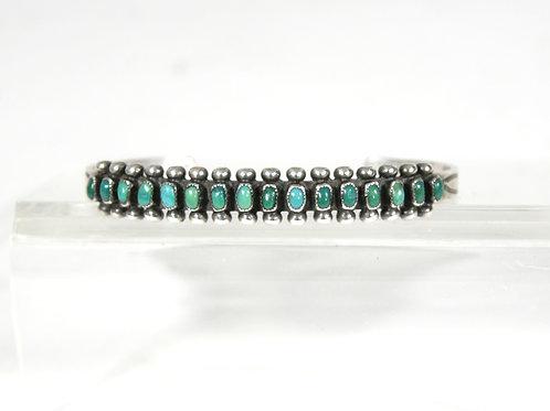 Vintage Old Pawn Zuni Silver & Turquoise Bracelet, Circa 1930's