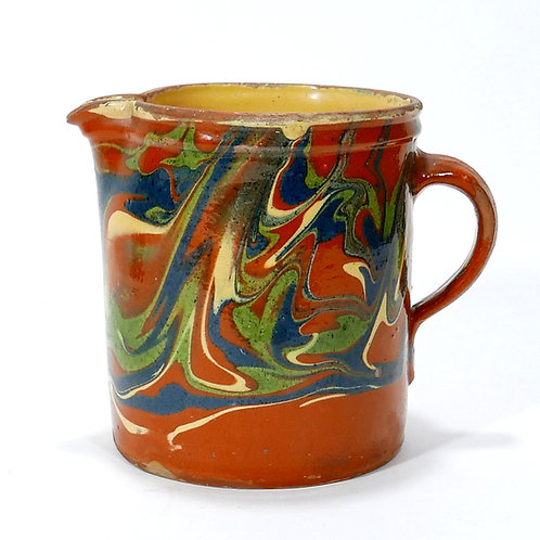 Brightly colored Jaspe French Provincial Pitcher
