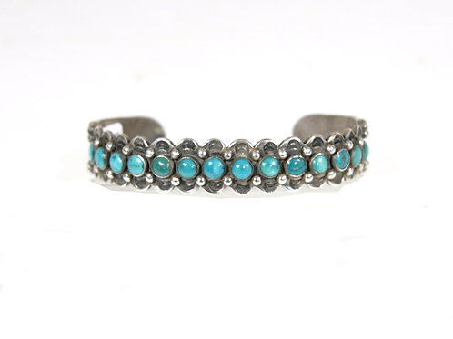 Vintage Navajo Silver & Turquoise Cuff