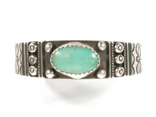 Heavy Vintage Navajo Silver & Turquoise Bracelet