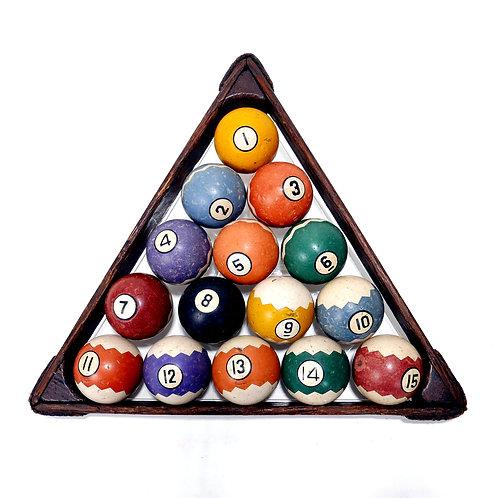 Complete set of Zig Zag Clay Pool / Billiard Balls