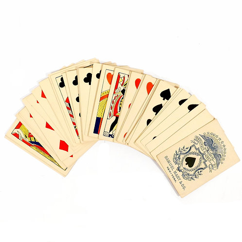 Rare Deck of Square Cornered Pasteboard Playing Cards, 1860's Samuel Hart & Co