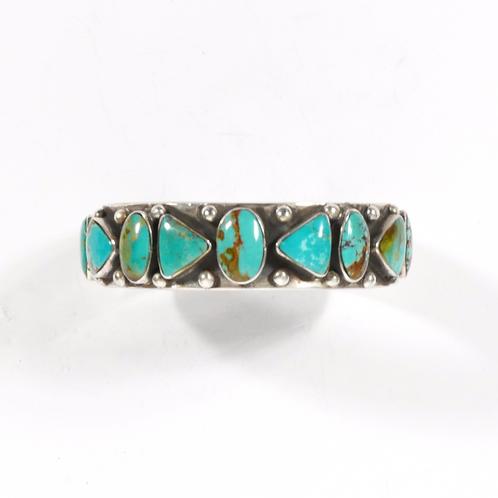 Vintage Navajo Old Pawn Boulder Blue Turquoise Bracelet