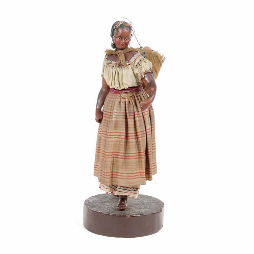 Wax Sculpture of Black Woman with Basket